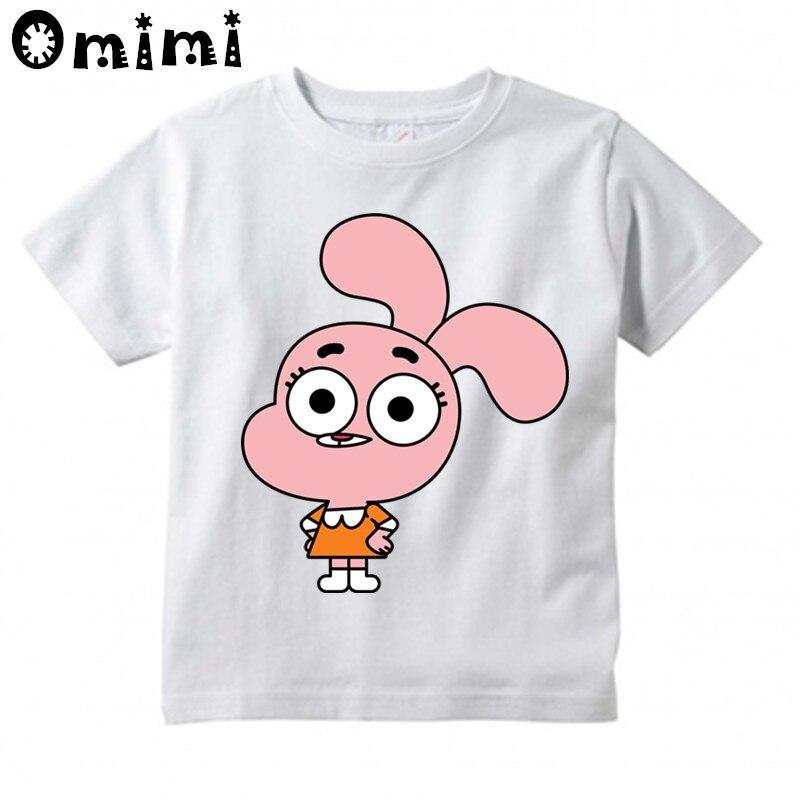 цена на Boys and Girls The Amazing World Of Gumball Cartoon Printed T Shirt Kids Great Casual Short Sleeve Tops Children's Funny T-Shirt