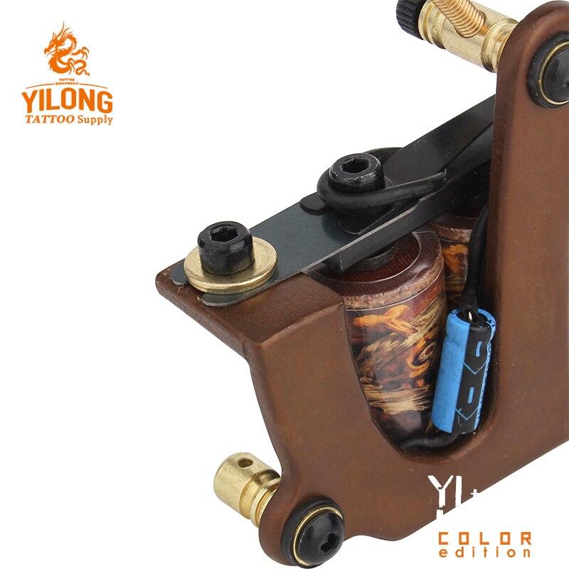 Machine de tatouage faite main professionnelle 10 bobines d'enveloppe pistolet de tatouage fait sur commande de cadre de cuivre pour des fournitures de tatouage de Shader ou de revêtement - 5