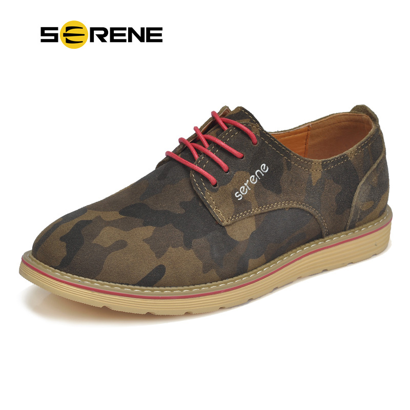 SERENE Brand Men's Suede Leather Shoes Fashion Camouflage Pattern Lace-up Men Casual Shoes Non-slip Wear Zapatillas hombre 5198