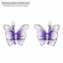 Neoglory фиолетовые серьги-бабочки в стиле бохо с лакированной эмалью, зажимные серьги-клипсы для женщин, подарки дружбы, новинка, MS