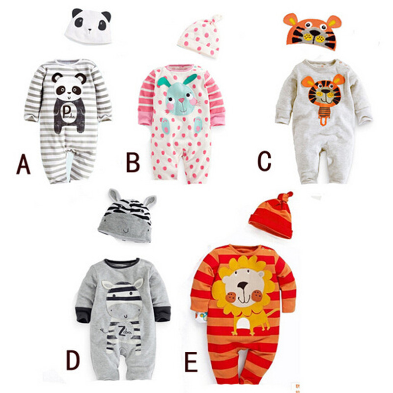 2PCS/0-24M/spring autumn 2016 kids clothes new born baby girls boys rompers+hat long-sleeved jumpsuit infant clothing set