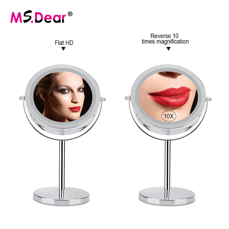 7 Inch Makeup Mirror Double Sided 10X Magnifying Metal Compact 360 Degree Rotation Desktop Stand 17 LEDs Cosmetic Mirror Tools-in Makeup Mirrors from Beauty & Health    1