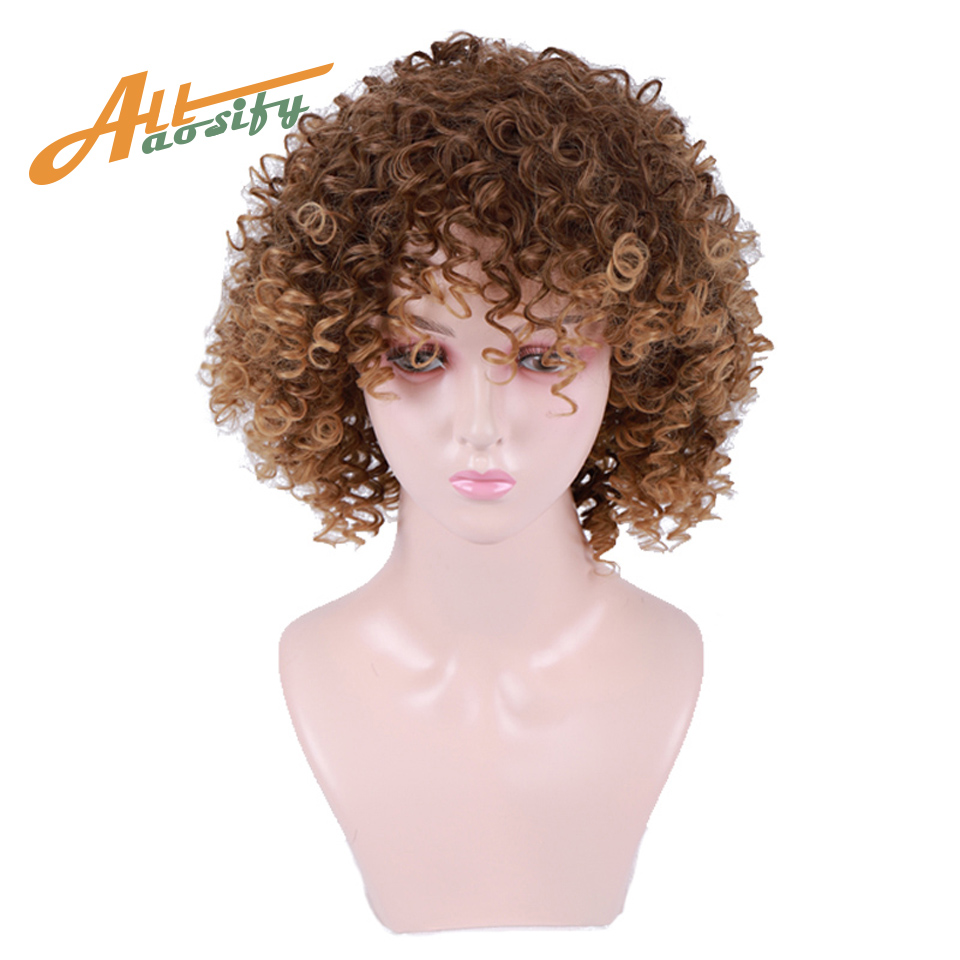 Allaosify Short Jerry Curl Wig Curly Short Bob Wig Pixie Cut Wig For Black Women Ombre  Blonde Synthetic Wig Afro Kinky Culy(China)
