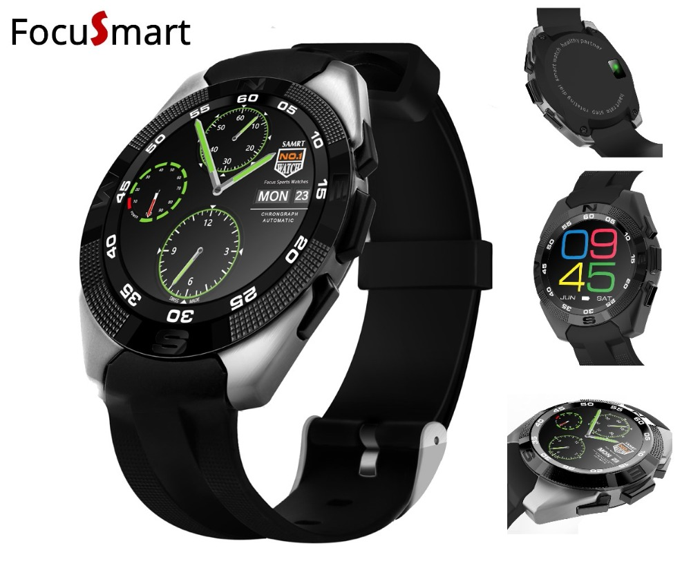 FocuSmart2018 Sport Smart watch Bluetooth Dynamic Heart Rate Monitor Smart Watch Android MTK2502 Sport Wristwatch for smartphone