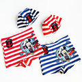 Cartoon Baby Boy Swimwear Cute Striped Shorts + Hat 2 Pieces Sets Kids Summwer Swimming Short Pants Boys Swim Wear Beach Clothes