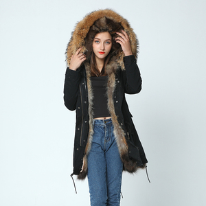 Image 2 - OFTBUY 2020 long winter jacket women outwear thick parkas raccoon natural real fur collar coat hooded real warm fox fur liner