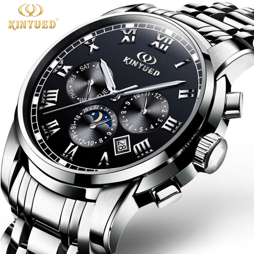 KINYUED Mens Watches Top Brand Luxury Mechanical Watches Man Clock Business Hands Date Moon phase Automatic Watch Reloj Hombre цена и фото