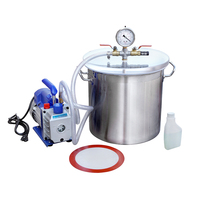 5 Gallons Stainless Steel Vacuum Bucket 3CFM Vacuum Pump Degassing Kit New 110V