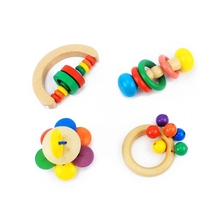 Baby Rattles & Mobiles Infant & Toddlers Wood Toy Wooden Geometric Shape Rattles Baby Wooden Toys Bell Gift for Newborns Musical