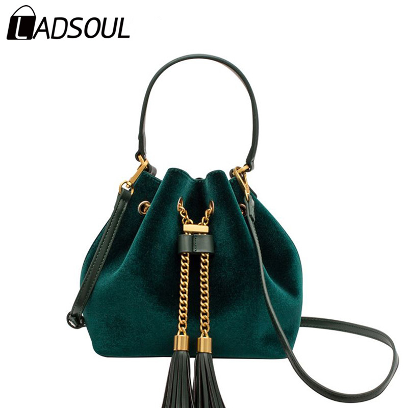LADSOUL Fashion Velour Women Handbags Bag For Girl Lady Tassel Vintage Women Shoulder Handbag Female Solid String Bucket A3958/h vvmi 2016 new women handbag brand design rivet suede tassel bag chic classic vintage saddle bag single shoulder bag for female