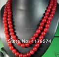 "Woman long jewerly Hot free deliver goods wholesale new Charming!Beautiful   50"" 10mm Red Jade Round Beads Jasper Necklace wJ525"