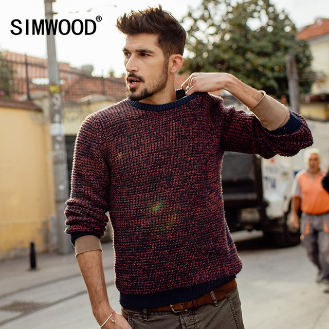 Simwood Men New Autumn Leisure Round neck Wool Pullover Color Matching Sweater MY2049