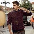 Simwood homens novo lazer outono em torno do pescoço pulôver de lã camisola de correspondência de cores my2049
