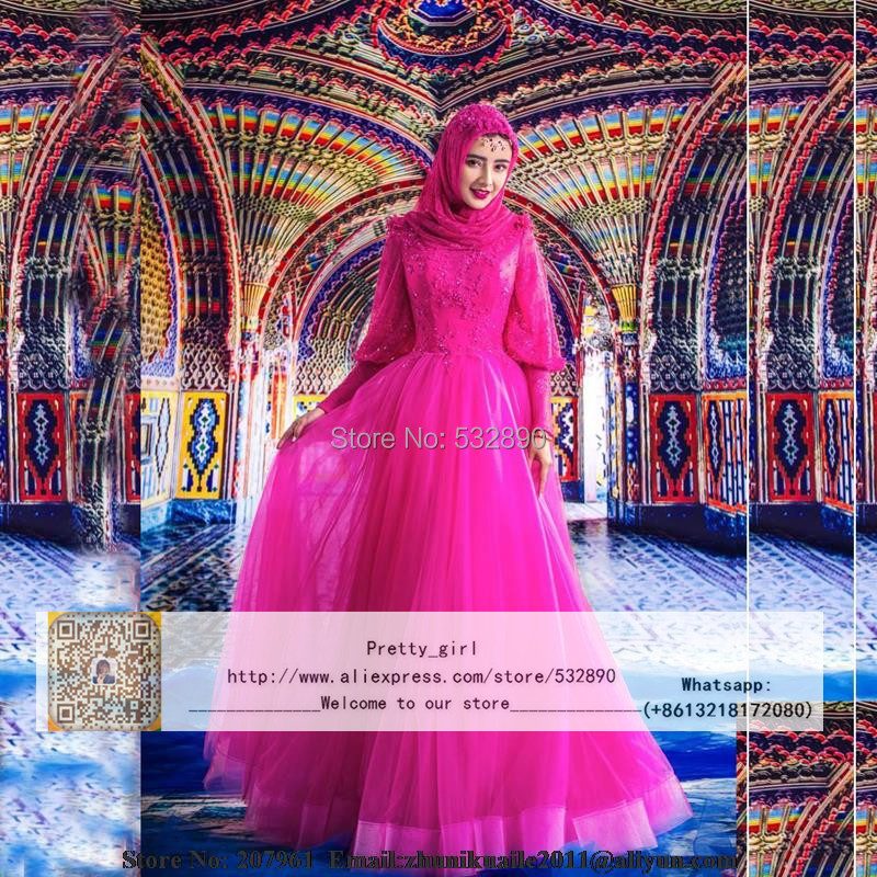 Árabe Kaftan musulmán Hijab vestidos De novia 2016 De la manga De ...