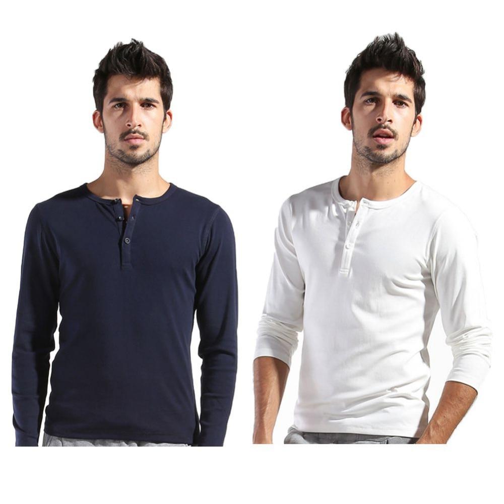 73a9020be44b Autumn Men s Basic Tee Long Sleeve Henley Shirts Slim Cut Casual ...