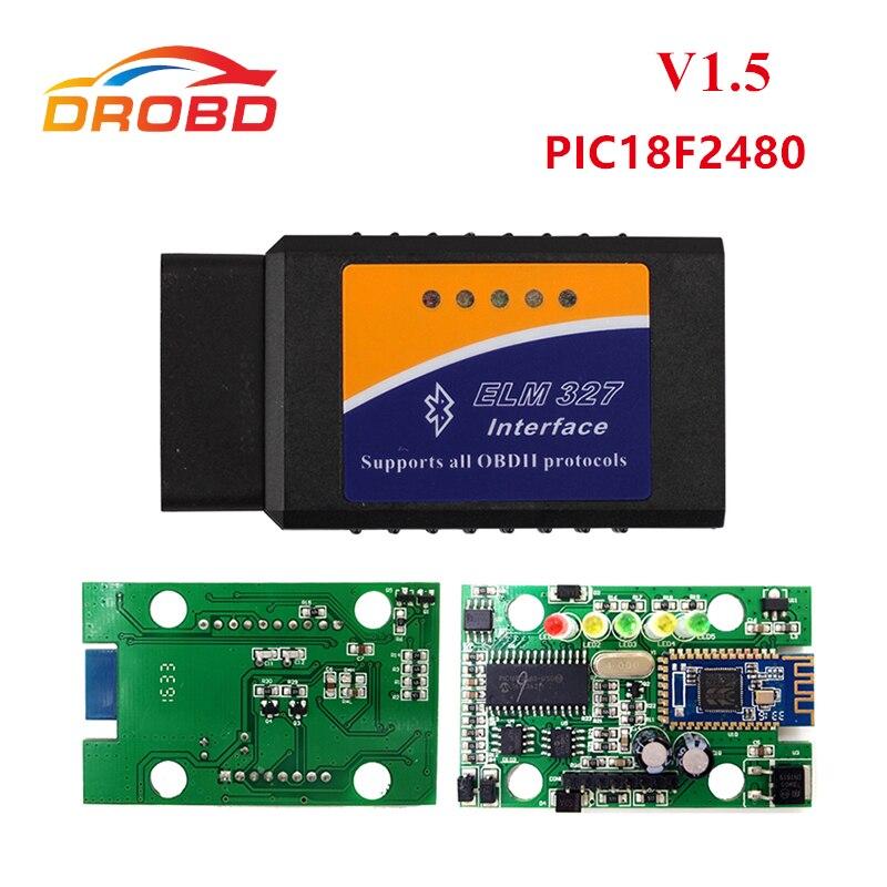 Prix pour Meilleur Matériel De Qualité ELM327 V1.5 PIC18F2480 Puce ELM327 V 1.5 Bluetooth Pour Android OBD2 Scanner Diagnostic-Outil ELM 327 OBD-II