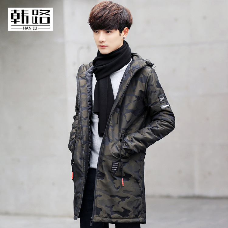 HANLU winter hot sale mens Camouflage Long section Thicken white duck down jackets windproof waterproof Breathable down coat