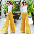Customize Made Women Summer Autumn New Casual Loose Long Trousers Ladies Elegant High Waist Plus Size Chiffon Wide Leg Pants