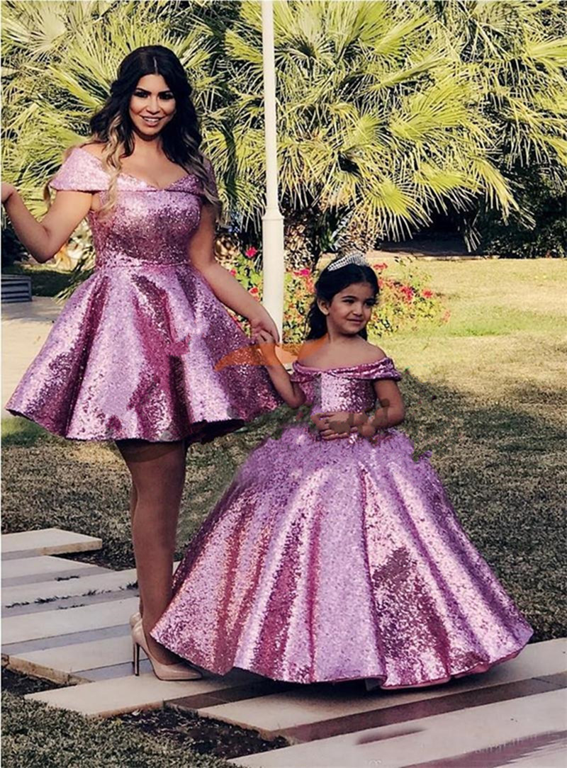 Full Sparkly Sequined Flower Girl Dress For Special Occasion Off Shulder Puffy Lace Up Back Customized Kids Pageant Gowns Longo