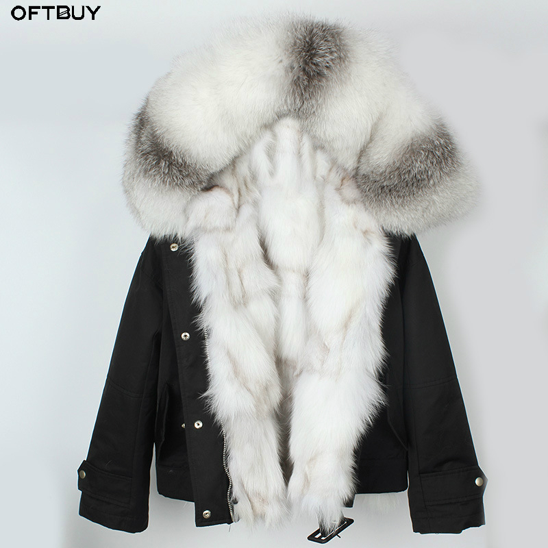 OFTBUY 2019 New Witner Jacket Women Real Fur Coat Parka Natural Fox Fur Thick Warm Streetwear Luxury Brand Outerwear Moto&Biker