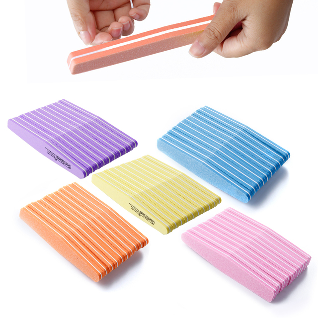 100Pcs Double side Nail Files Set 100/180 Manicure Sponge Buffer Kit ...