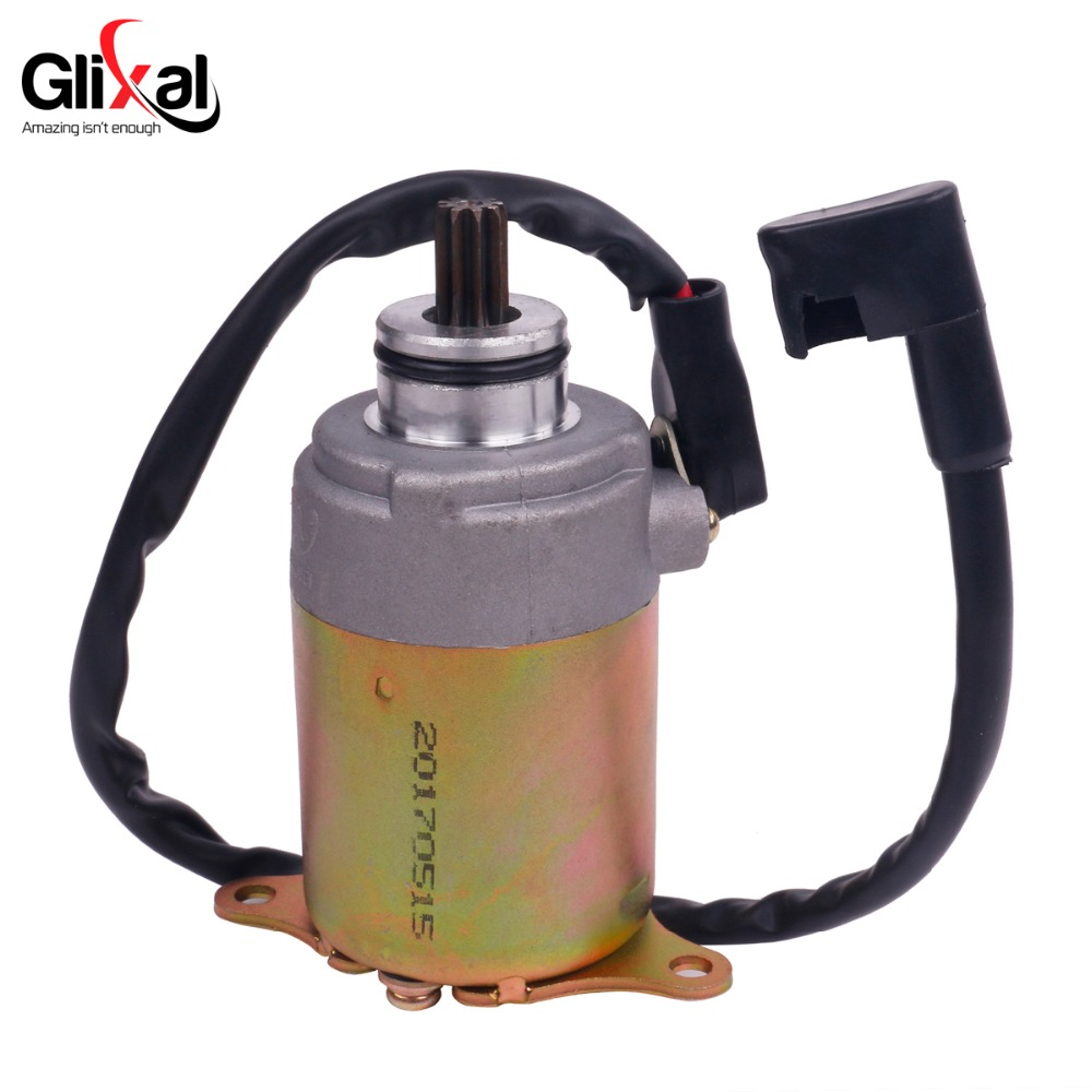 Glixal GY6 125cc 150cc Electric Starter Motor with Wire for 4-stroke 152QMI  157QMJ Scooter Moped ATV Go-kart Engines