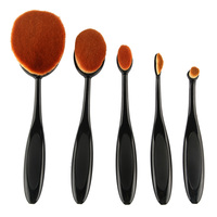 High Quality 5 Pcs Set Makeup Toothbrush Shape Oval Makeup Brush Set Foundation Contour Powder Eyebrow