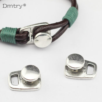 Dmtry 5pcs Antique Silver Button Clasp Hook Clasp For 4mm Round Leather Cord Diy Bracelet Bangle Jewelry Findings C0013 18 10row 4mm orange round coral necklace magnet clasp