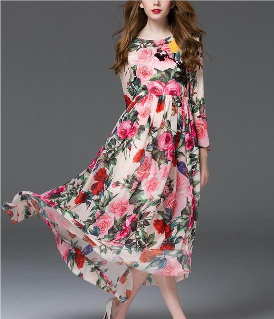 9d81df5060ce Maxi Vestido Longo Estampado Floral das mulheres Da Cintura Com Cinto  Frouxo O Pescoço Vestido de