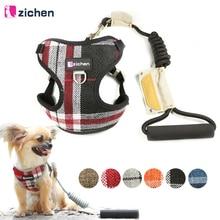 Zichen Pet Dog Harness Leash Adjust Cowboy Fiber Cotton Cloth Canvas Nickel Buckle Vest Double Reinforcement 6 Color
