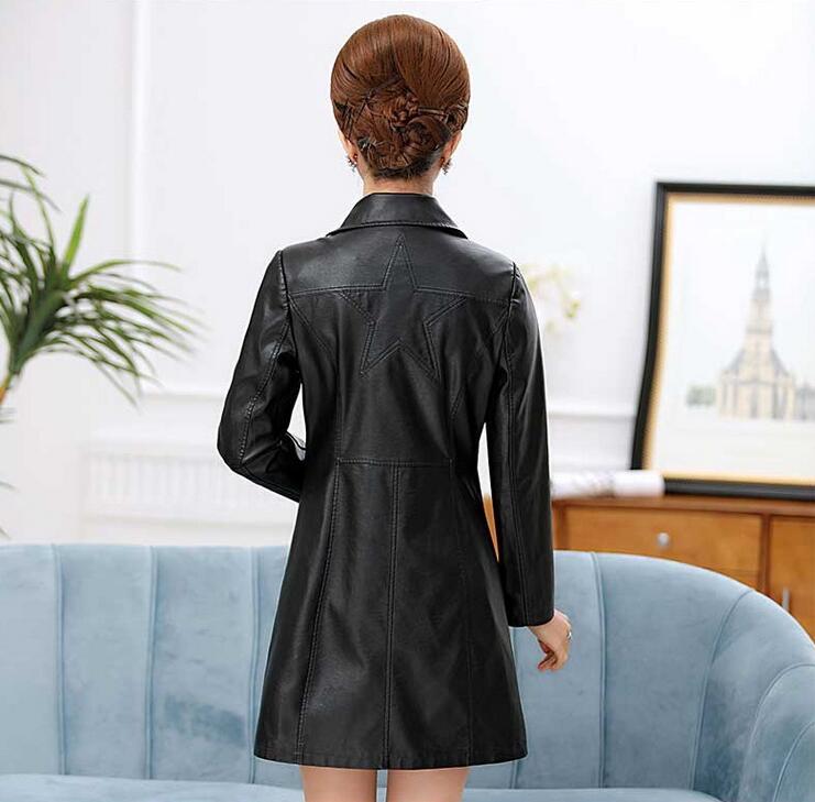 NXH black leather jacket mulheres brasão plus size mulheres casacos de couro do falso do motor motociclista jaquetas outwear inverno - 3