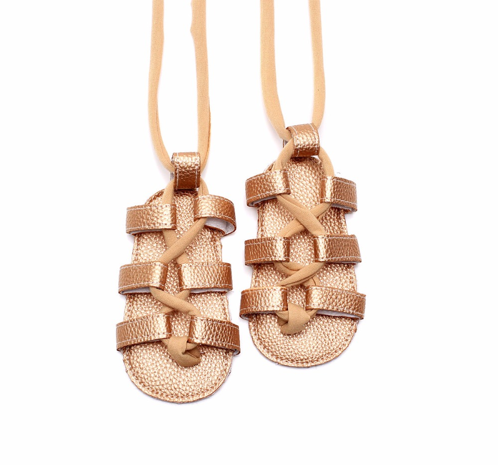 Summer Infant Non-slip Sandals Leather Baby Girls Flat Heels Lace-up Sandals Girls Rome Style Sandals Baby High Kids Sandal