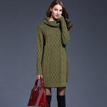 كبيرة الحجم المرأة فستان منسوج سترة طويلة الإناث الياقة المدورة سترة فستان حجم كبير ملابس الشتاء طويلة الأكمام فستان كاجوال