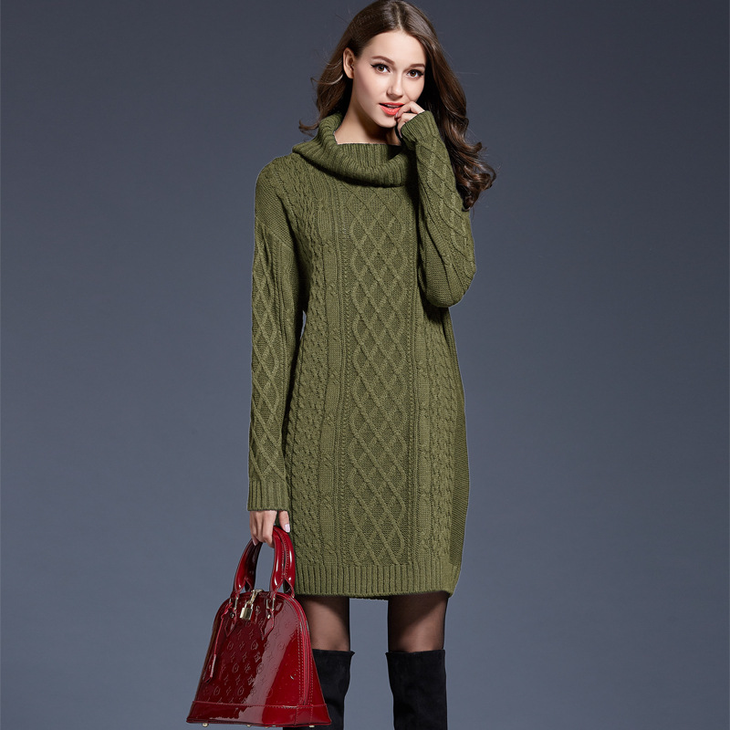 US $23.77 11% OFF|Large Size Women\'s Knit Dress Long Sweater Female  Turtleneck Sweater Dress Plus Size Long Sleeve Winter Clothes Casual  Dress-in ...