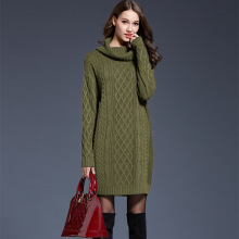 Large Size Womens Knit Dress Long Sweater Female Turtleneck Sweater Dress Plus Size Long Sleeve Winter Clothes Casual Dress
