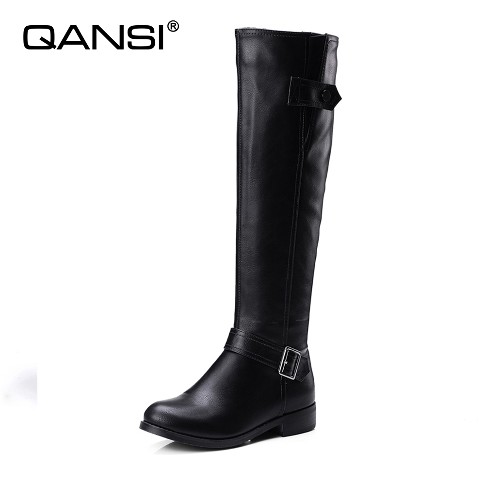 QANSI New winter warm fur women knee high boots soft leather 2017fashion new female thick high heels boots shoes plus size skullies beanies the new russian leather thick warm casual fashion female grass hat 93022