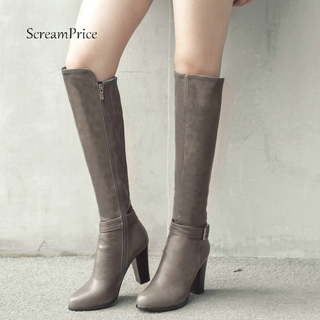 цена на Women Winter Boots Pu Leather Square High Heel Knee High Boots Zipper Boots Fashion Ladies Shoes Plus Size 2018 New Brown Black