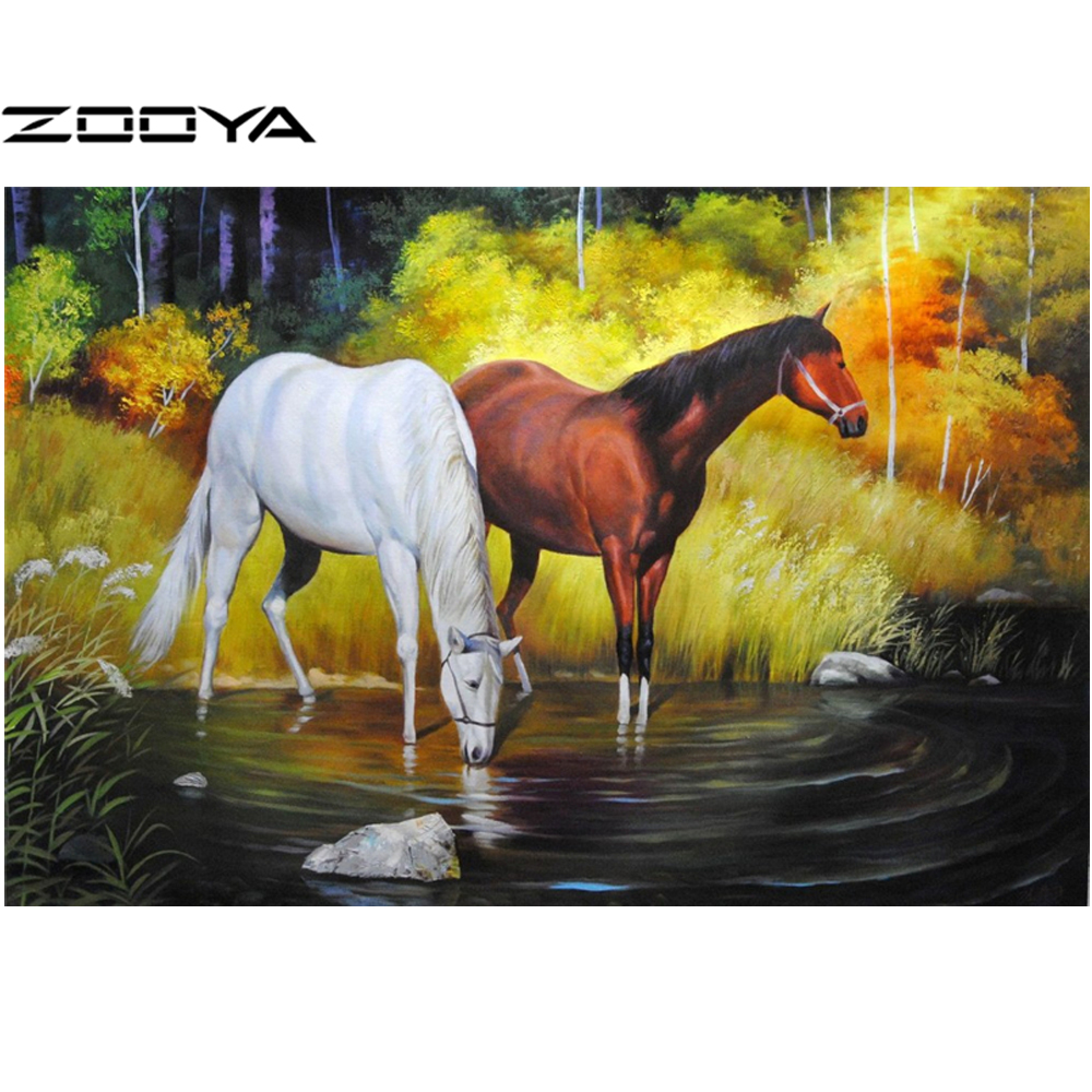 Time-limited 3d Diy Diamond Painting Forest Horse Lake Rectangle Mosaic Embroidery Resin Craft Handicraft Home Decoration AT481