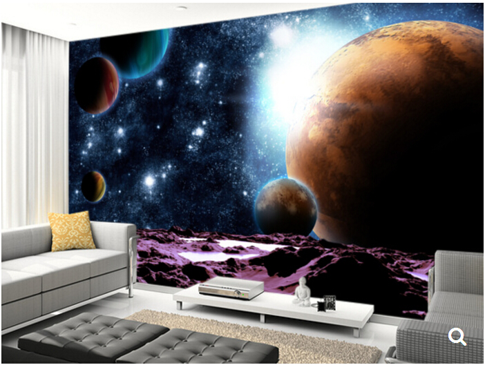 Custom papel de parede infantil,Abstract Planets with Water,3D Cartoon children's room ceiling mural for bedroom Vinyl wallpaper custom children wallpaper multicolored crayons 3d cartoon mural for living room bedroom hotel backdrop vinyl papel de parede
