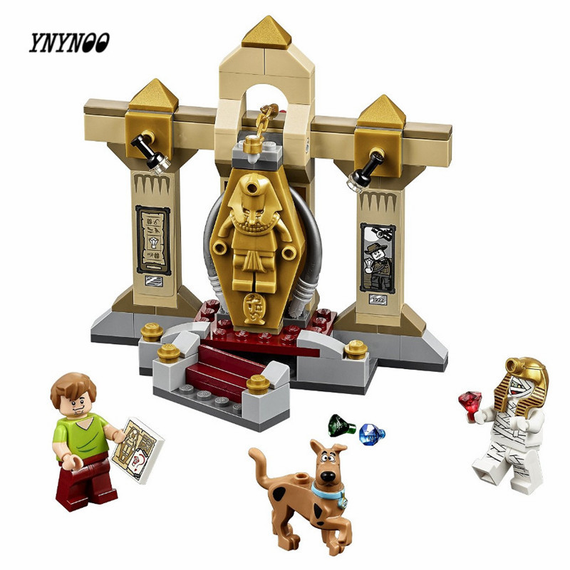 YNYNOO BELA Scooby-Doo 10428 Mummy Museum stery Building Block Model Kits Scooby Doo Marveled Toys Compatible Lepin P030 ynynoo 305pcs 10430 the mystery machine scooby doo fred shaggy zombie zeke toys building blocks christmas gift sa562
