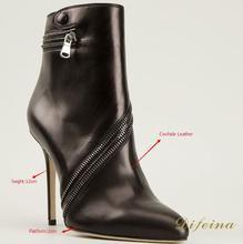 Mujeres Botas de Cuero nobuck Cadenas Sólido Tacones Finos Punta estrecha Slip-On Invierno Zip Botas de Invierno de Cuero Suave botas