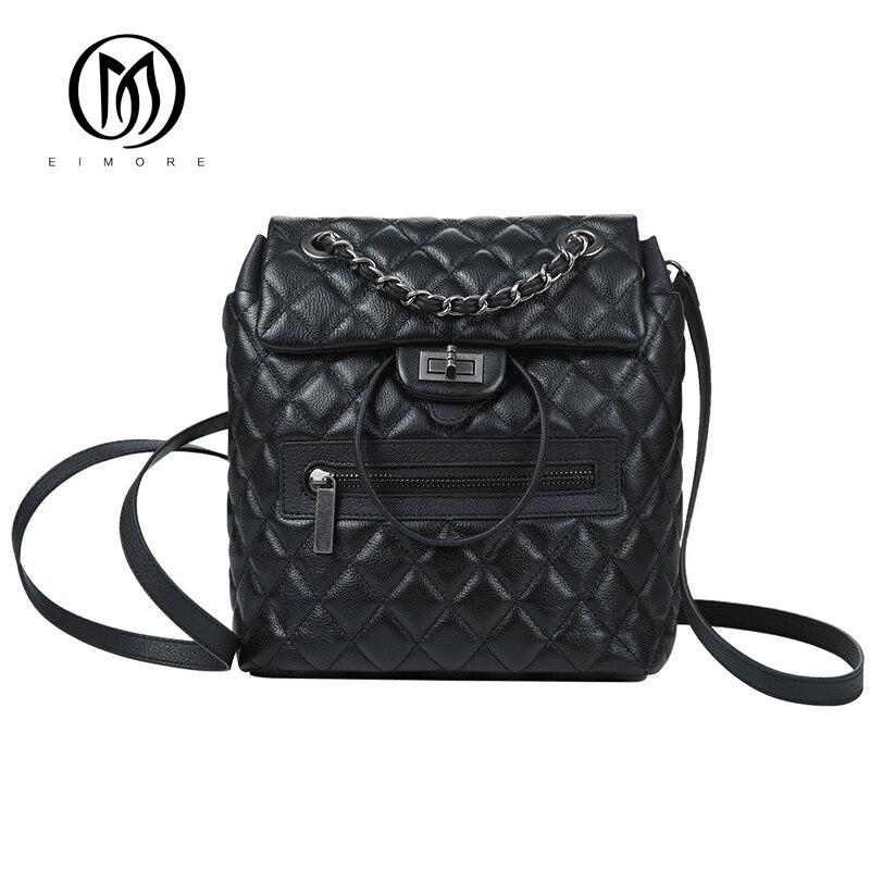 EIMORE Designer Backpack Women Genuine Leather Backpacks Vintage Teenage Girls Casual Bags Female High Quality Shoulder