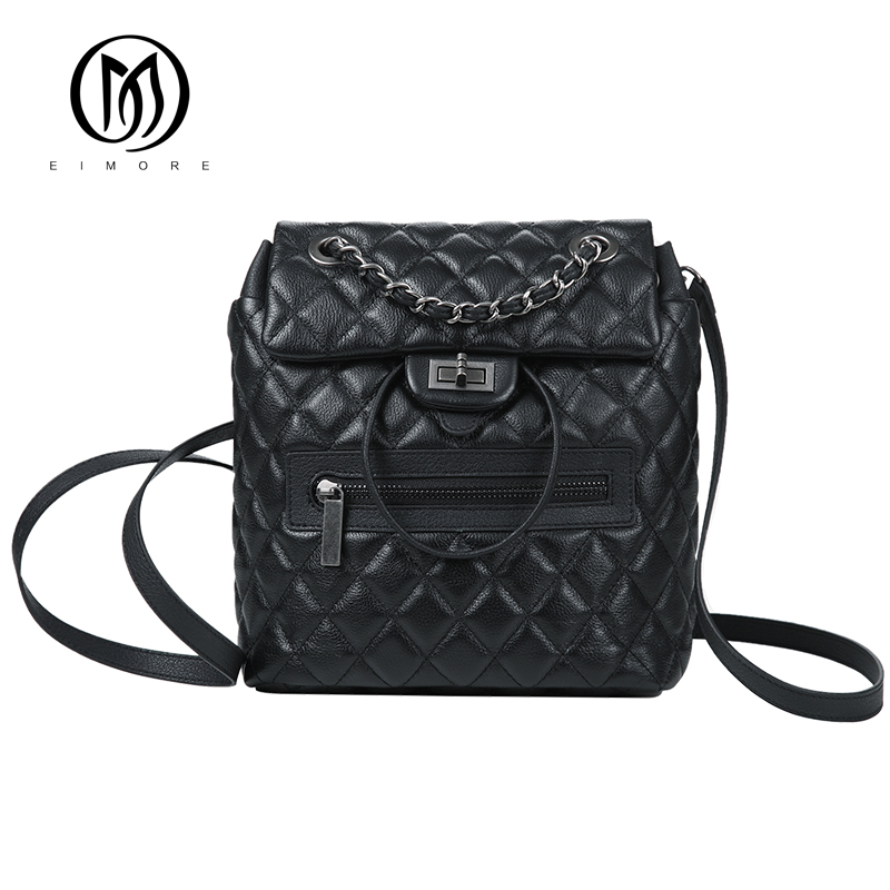 EIMORE Designer Backpack Women Genuine Leather Backpacks Vintage Teenage Girls Casual Bags Female High Quality Shoulder Bags high quality cow split leather women backpack vintage backpacks for teenage girls casual bags female shoulder bags for students