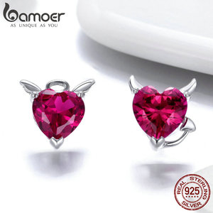 Image 5 - BAMOER Authentic 925 Sterling Silver Red CZ Evil And Angel Pendant Necklace Earrings Jewelry Set Sterling Silver Jewelry ZH067