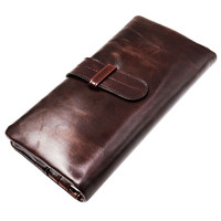 New Vintage Oil Waxed Genuine Leather Men Organizer Wallet Money Purse Card Holder Phone Photo Coin