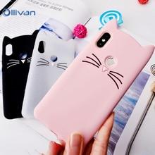 3D Cute Beard Cat Ears Case for Xiaomi Redmi Note 5 5A 4X S2 Silicone Soft TPU Glitter Cover Xiomi Mi 8 SE A1 MAX 2 Coque