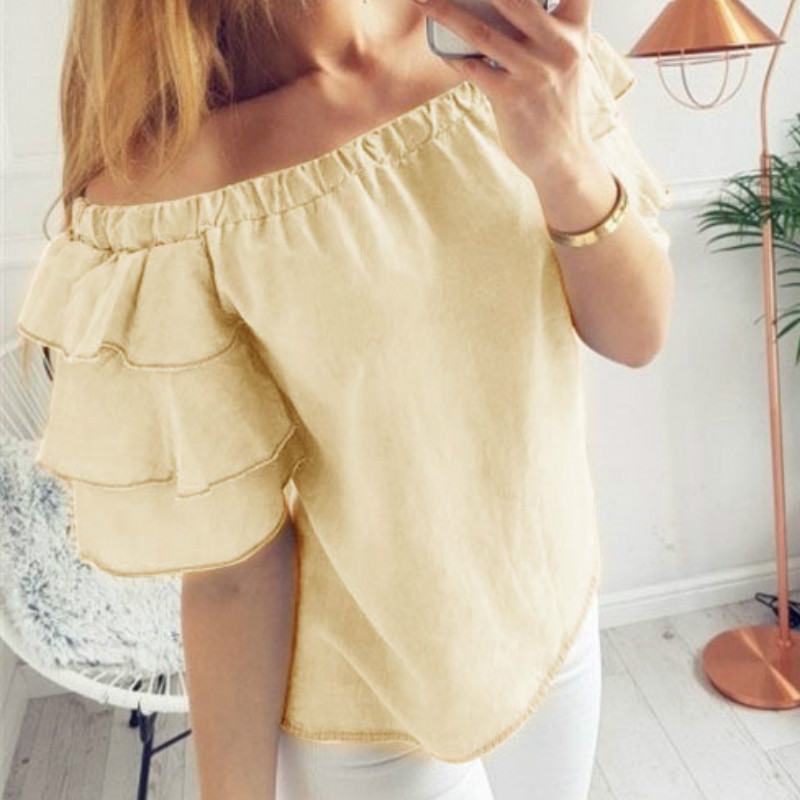Summer Ruffles 2018 Sexy Lady Blouses Slash Neck Butterfly Sleeve Women Spring Shirts Short Sleeve Tops Blaus Plus Size GV378