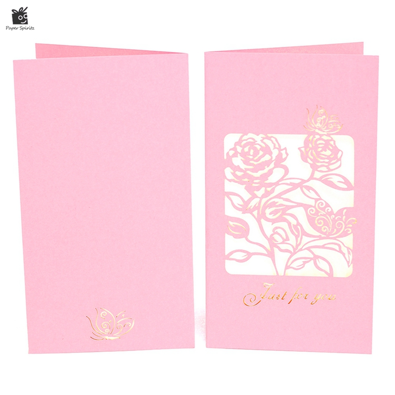 Laser Cut Wedding Invitations Cards Romantic Secret Garden Card Rose Butterfly Postcard Blue Pink Violet 10 pcs/lot Wholesale