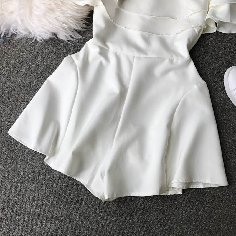 HTB1ygGucfWG3KVjSZFgq6zTspXa4 - Candy Color Elegant Jumpsuit Women Summer Latest Style Double Ruffles Slash Neck Rompers Womens Jumpsuit Short Playsuit