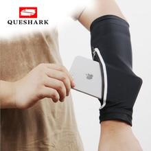 Queshark 1pcs Elastic Sunscreen Arm Warmer Phone Armband Bag for Running Cycling Wristband Phone Wrist Bag Pocket Arm Sleeve